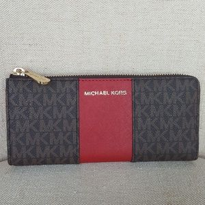 f3ecd0404ac9 MICHAEL Michael Kors Bags - NWT Michael Kors LG stripe wallet brown scarlet  MK